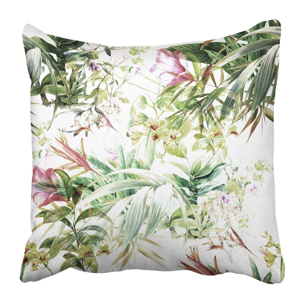 WOPOP Black Floral Watercolor Painting of Leaf and Flowers on White Red Vintage Palm Plant Exotic Jungle Pillowcase 16x16 inch
