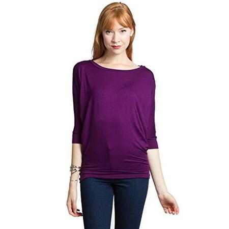 Women's 3/4 Dolman Sleeves Rayon Long Hem Top (Medium,