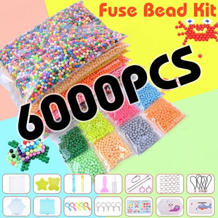 6000/1000 24 Colors Mix/Crystal M agic Fuse Beads Water Sticky Beads Tool Set DIY Refill Water Spray Art Crafts Toys for Kids Adult Beginners Childrens Gifts