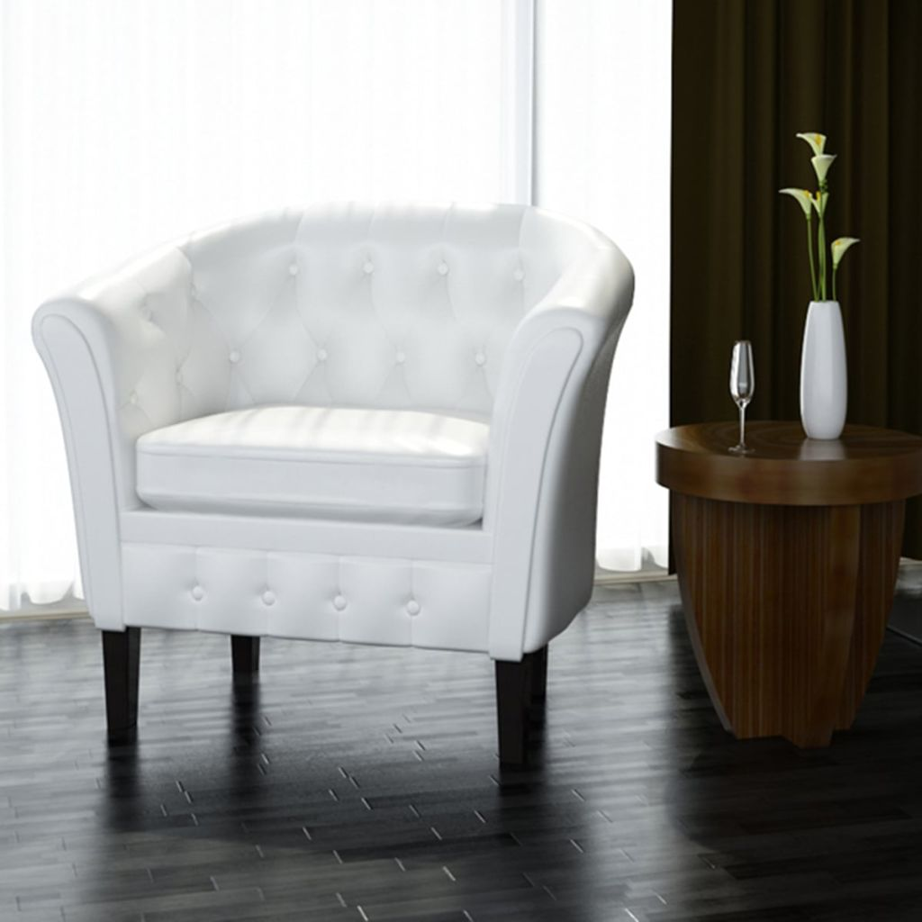 White Artificial Leather Armchairs Tub Chair