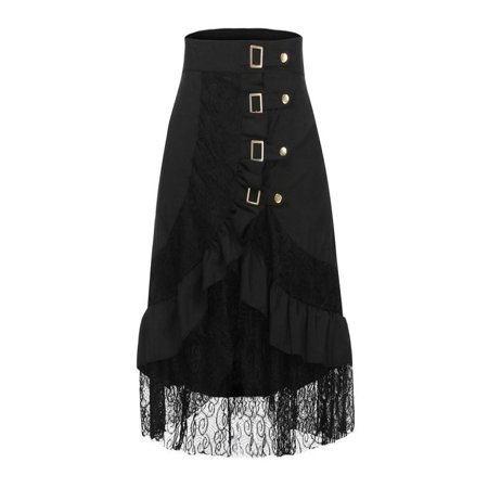 OkrayDirect Women's Steampunk Clothing Party Club Wear Punk Gothic Retro Black Lace Skirt - Steampunk Skirts