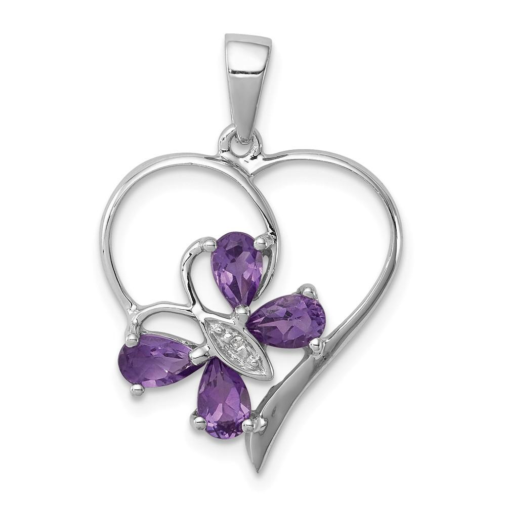 Sterling Silver Rhodium Amethyst Diamond Butterfly Heart Pendant 0.78ct