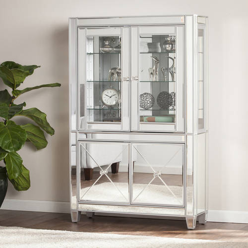 Southern Enterprises Illusions Mirrored Lighted Curio Cabinet, Matte Silver