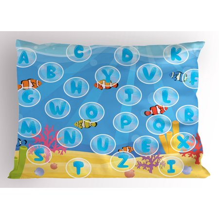 Kid's Activity Pillow Sham Letters of the Alphabet in Bubbles under the Sea Educational Illustration, Decorative Standard Queen Size Printed Pillowcase, 30 X 20 Inches, Multicolor, by Ambesonne](Bubble Letter Alphabet)