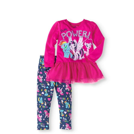 My Little Pony Toddler Girls' Tulle Trimmed Top and Leggings 2-Piece Outfit Set