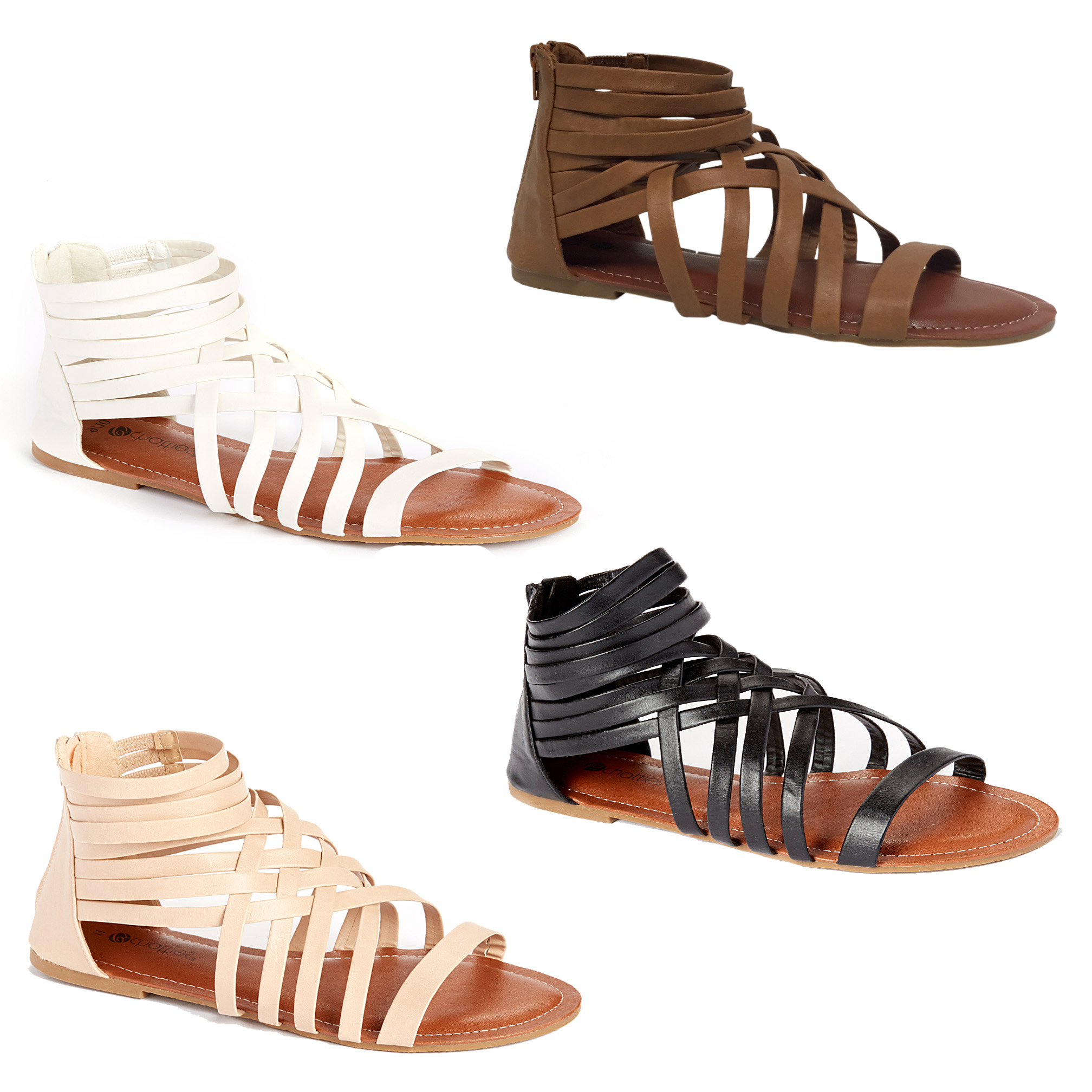 Women's Woven Gladiator Sandals with Comfort Soles and Zip Back - Assorted Colors