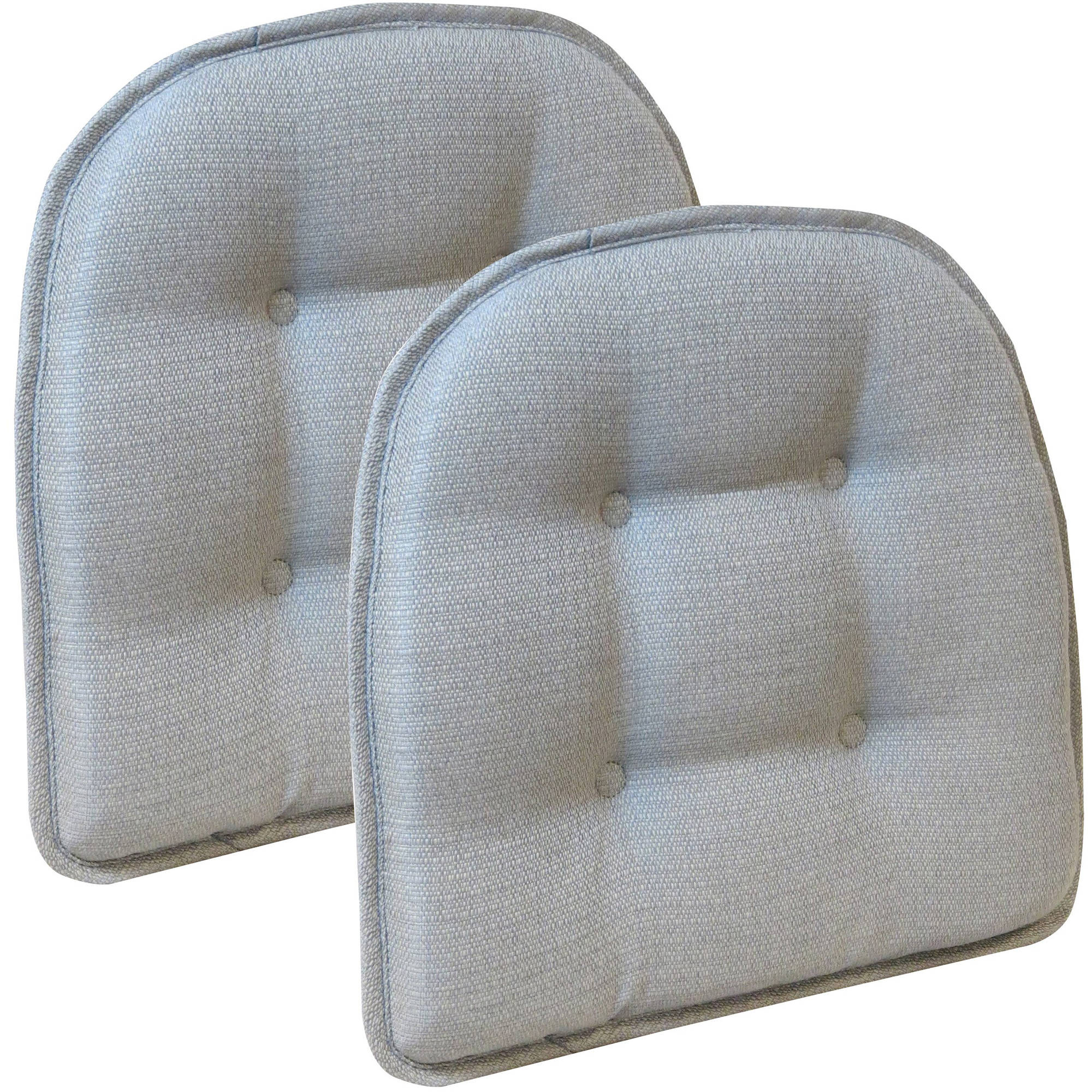 "Gripper Non-Slip 15"" x 16"" Omega Gray Tufted Chair Cushions, Set of 2"