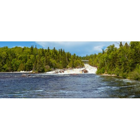 Waterfall on Aguasabon River at Terrace Bay Beach on the North Shore of Lake Superior Ontario Canada Canvas Art - Panoramic Images (6 x