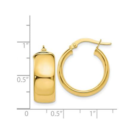 14k Boucles d'oreilles en or jaune Hoop (7.75x16mm) de - image 2 de 4