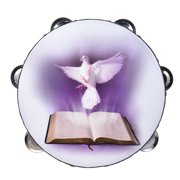 """8"""" Double Row Jingle Tambourine Handbell Clap Drum Percussion Instrument with Dove & Bible Pattern for Church"""