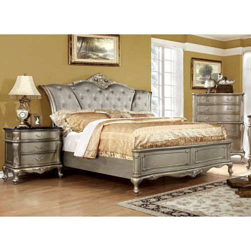 Furniture of America Masika Traditional 3-Piece Gold Bedroom Set, Multiple Sizes by Furniture of America