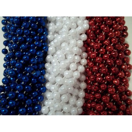 72 Red White Blue Memorial 4th July Mardi Gras Beads Necklaces Party Favors - Memorial Day Party Ideas