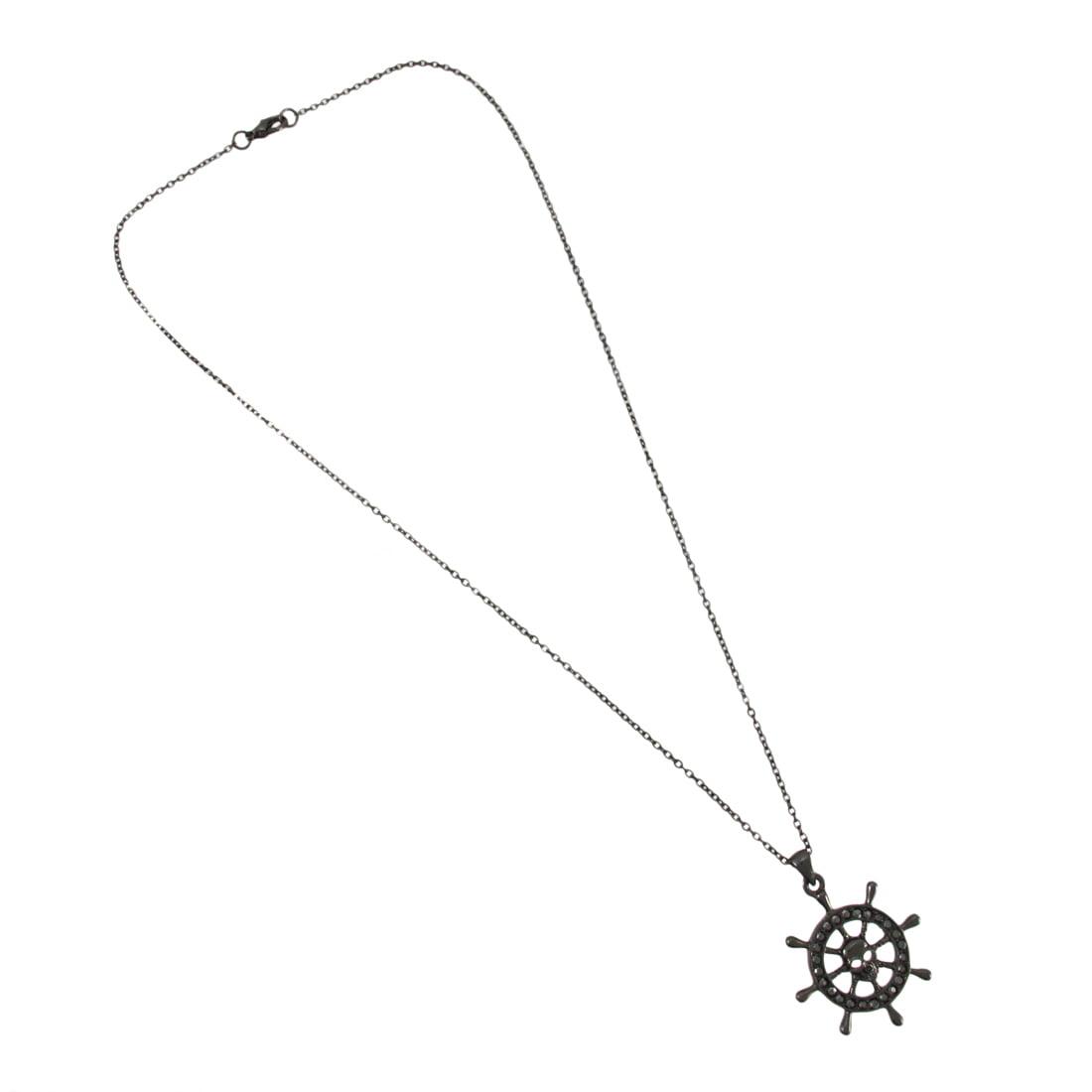 Gunmetal Pirate Ship`s Wheel Necklace - image 3 de 4