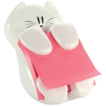 Note Pad Dispenser (Post-it Pop-up Note Dispenser, 3 in x 3 in, Cat Figure, Pad Colors May Vary (CAT-330))
