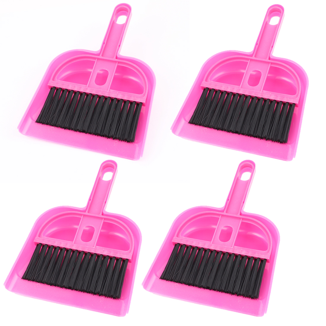 Car Internal Keyboard Air Outlet Vent Cleaning Brush Dustpan Fuchsia 4 Sets