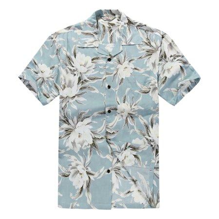 Mens Hawaiian Shirt Aloha Shirt Rayon 2Xl Waterlily Sky Blue