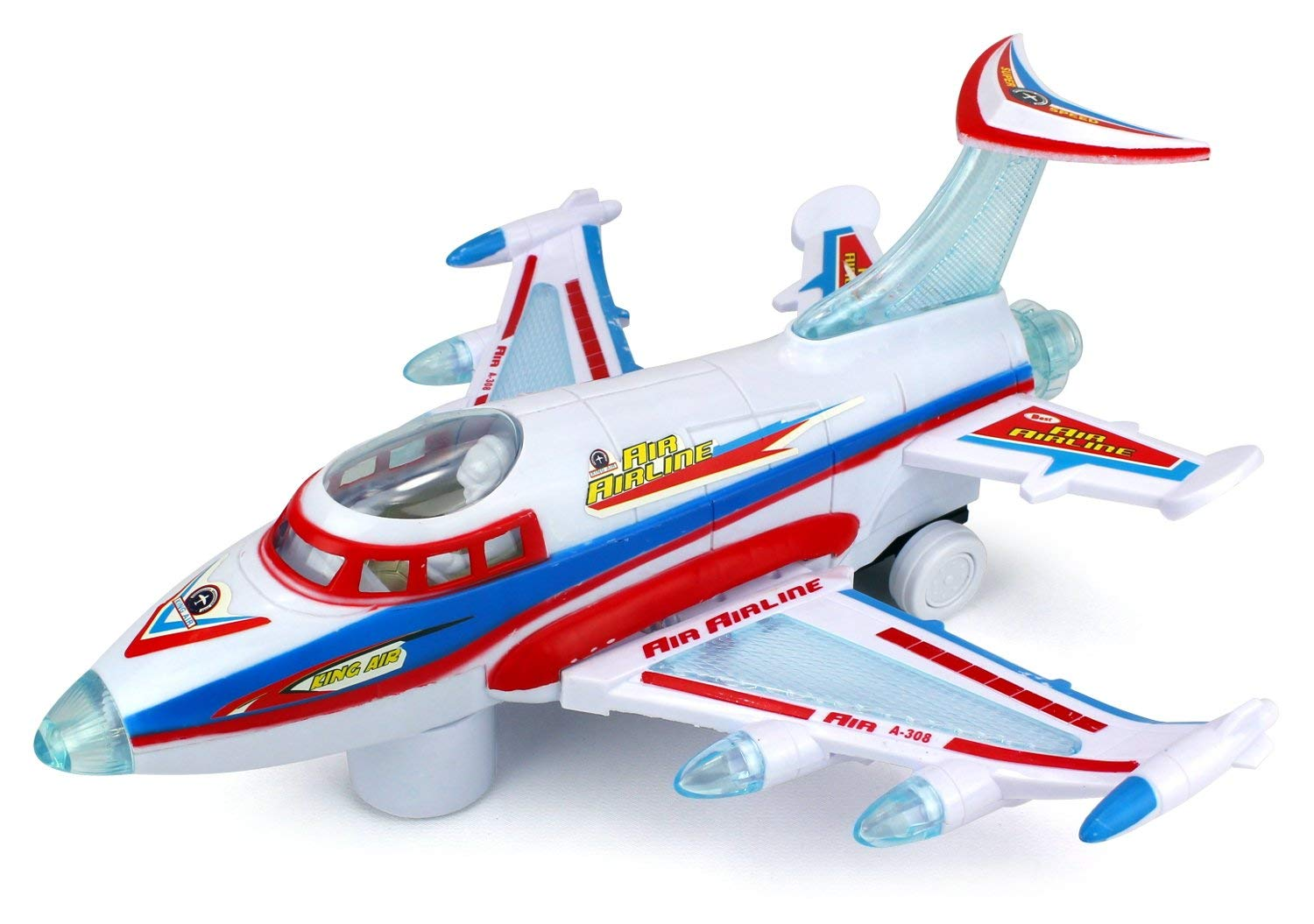 Battery Operated Kid's Bump and Go Toy Plane w  Fun Flashing Lights, Sounds by Velocity Toys