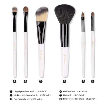ducare makeup brushes kit set 6pcs brush w/ case cosmetic