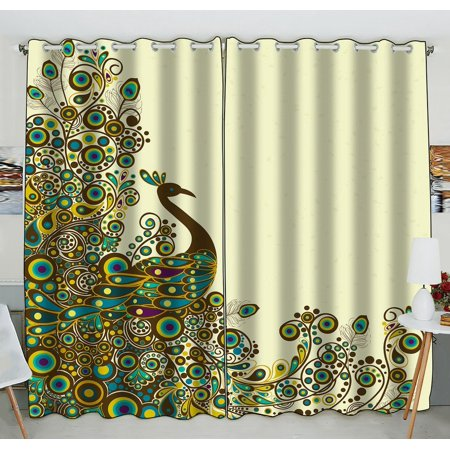 GCKG Beautiful Peacock Pattern Window Curtain Kitchen Curtain Window Drapes Panel for Living Room Bedroom Size 52(W) x 84(H) inches (Two Piece)