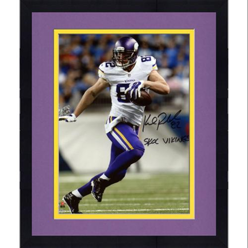"""Framed Kyle Rudolph Minnesota Vikings Autographed 8"""" x 10"""" Stiff Arm Photograph with """"SKOL Vikings"""" Inscription - Fanatics Authentic Certified"""