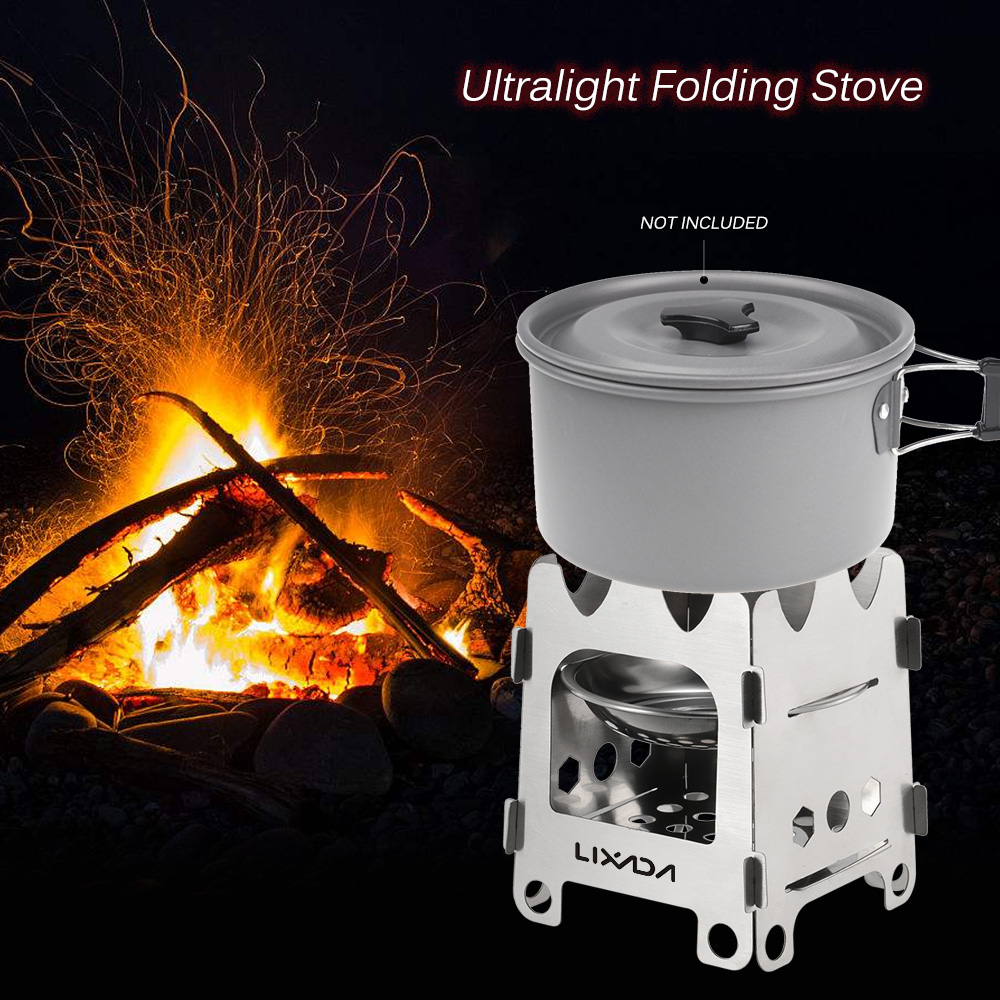 Lixada Outdoor Camping Stove Portable Ultralight Folding Stainless Steel Wood Stove Pocket Alcohol Stove with Alcohol Tray Camping Fishing Hiking Backpacking