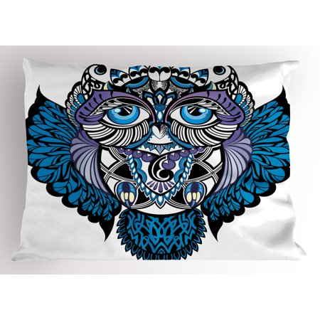 Tribal Pillow Sham Owl Bird Animal with Paisley Tattoo Design with Big Blue Eyes Lashes Print, Decorative Standard Size Printed Pillowcase, 26 X 20 Inches, Navy Blue and Purple, by Ambesonne