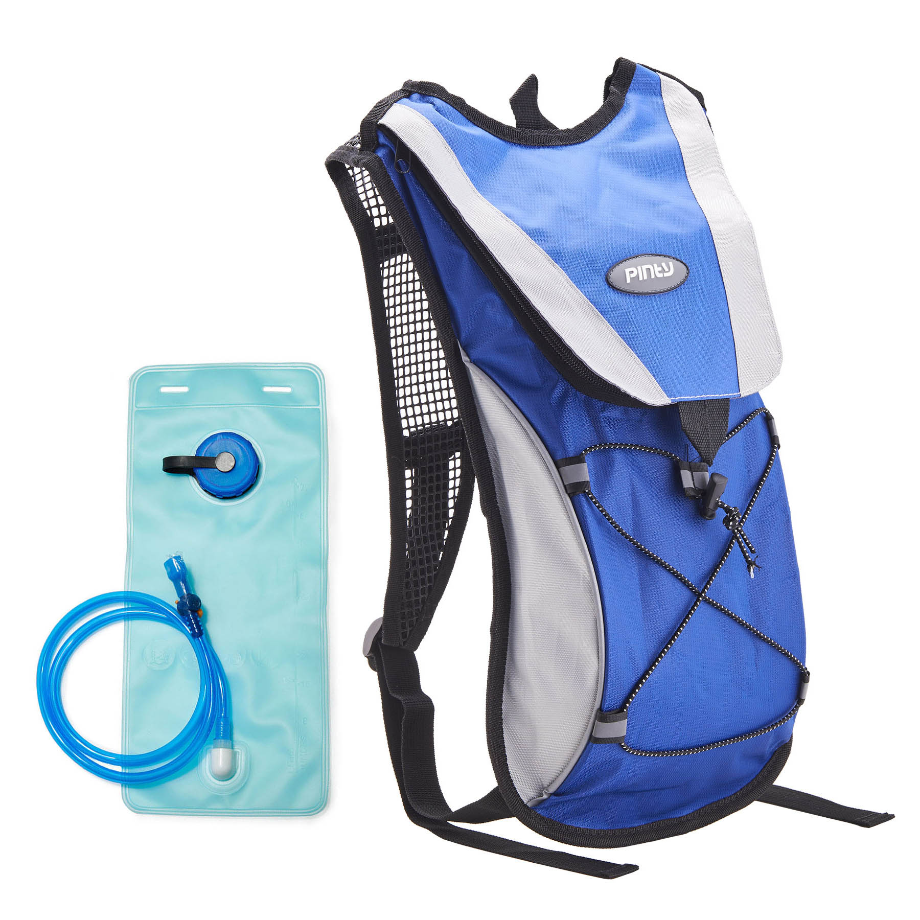 Pinty Premium Nylon Backpack with 2L Water Bladder Hydration Bag for Cycling Climbing Camping Blue
