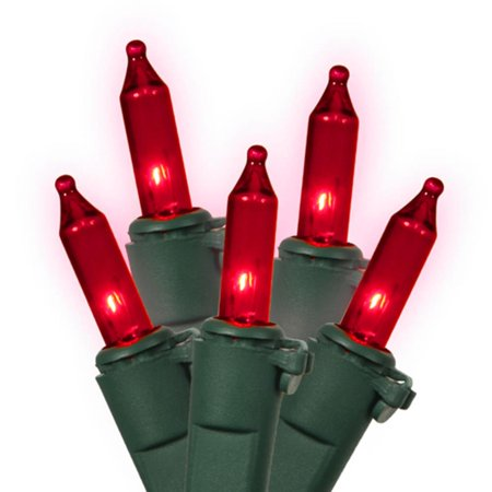 Set of 100 Red Mini Christmas Lights - Green Wire - Red Christmas Lights