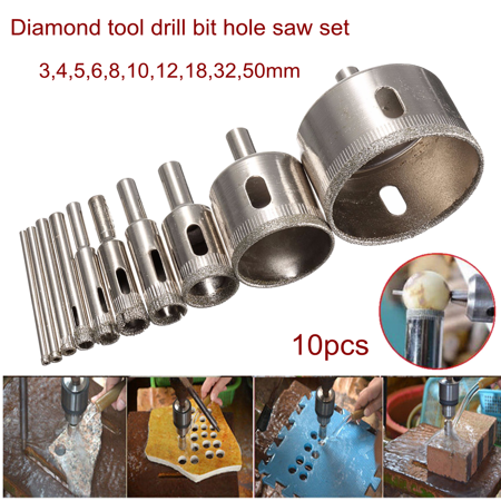 Hole Saw Pack (10Pcs 3-50mm Diamond Holesaw Drill Bit Hole Saw Drill Bit Set For Cutter Tile Glass Ceramic Porcelain)