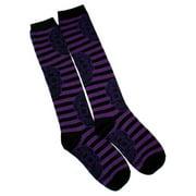 Sugar Skull Black & Purple Striped High Knee Socks