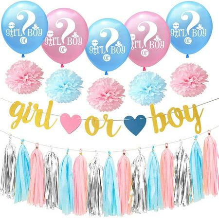 1 Set Tissue Tassel Garland Paper Flower Banner Boy or Girl Letter Latex Balloon Gender Reveal Party Decoration - Tissue Paper Banner