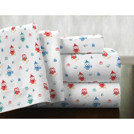Pointehaven Owl 100pct Cotton Flannel Sheet Set