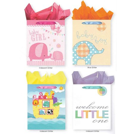 Pack of 4 Large Baby Shower Gift Bags. Assortment of Foil and Glitter Embellishments Girl Boy Unisex ()