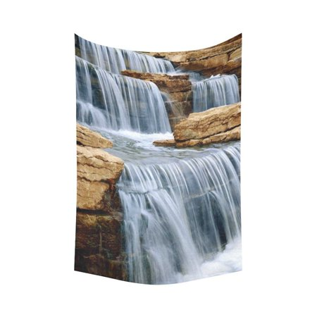 Gckg Beautiful Natural Stone Waterfall Tapestry Wall Hanging Water Element Landscape Decor Art For Living Room Bedroom Dorm Cotton Linen Decoration 60