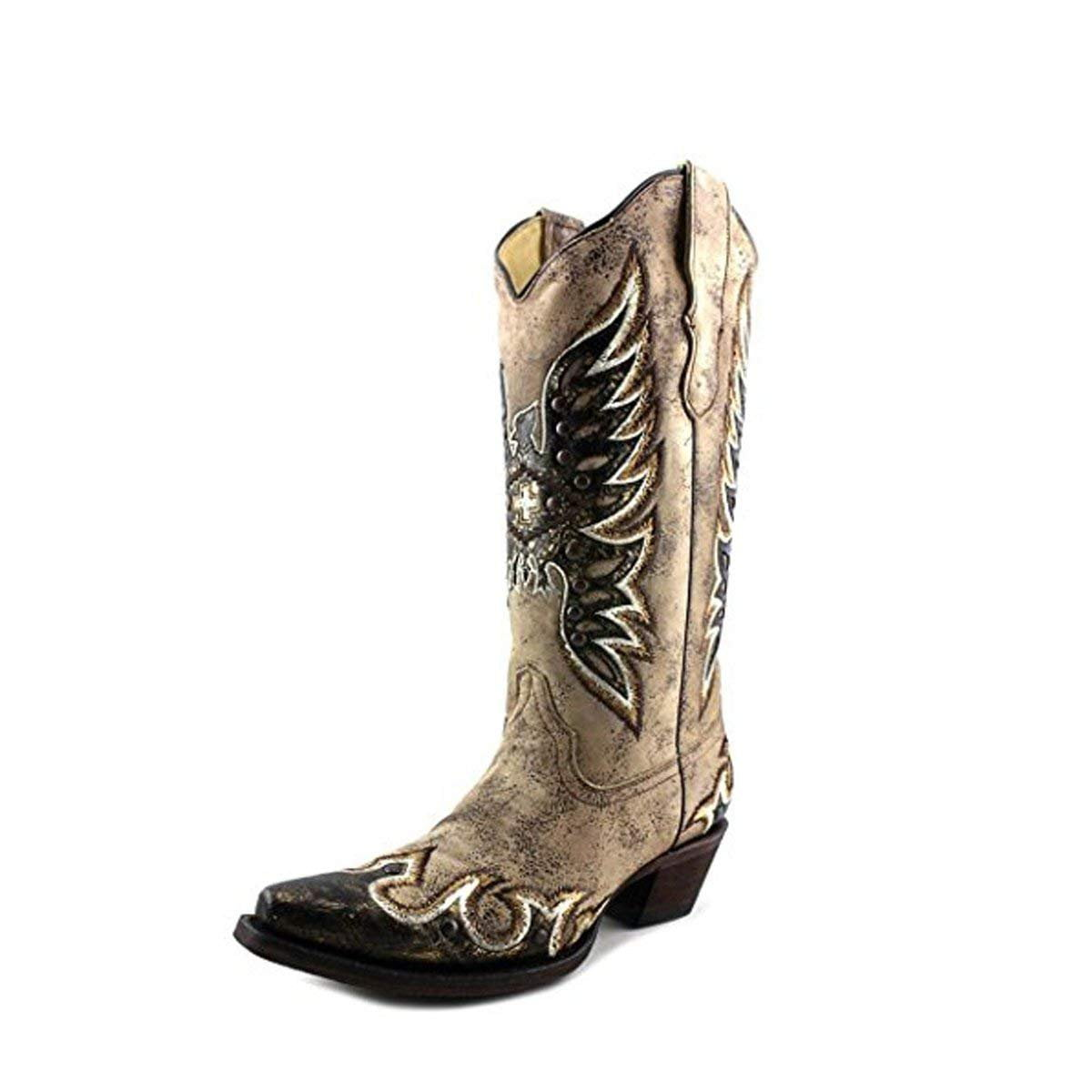 CORRAL Women's Distressed Brown Studded Metallic Eagle Snip Toe Boots E1040 (7 B(M) US)