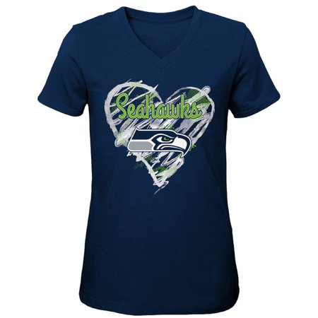 Girls Youth College Navy Seattle Seahawks Heart V-Neck T-Shirt (Seattle Seahawks Shirt)