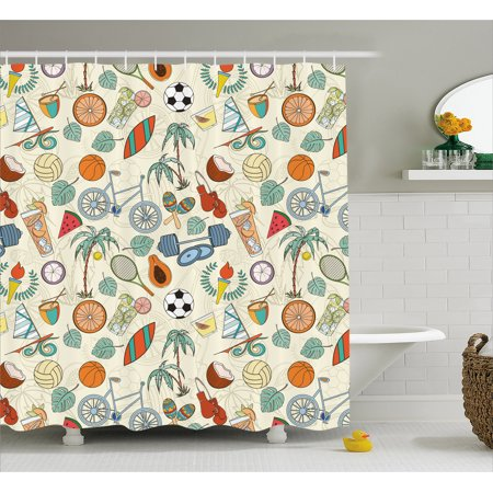 Sport Shower Curtain, Sports Themed Abstract Cartoon Style Icons Bike Balls Olympic Flame Weight Gloves, Fabric Bathroom Set with Hooks, 69W X 84L Inches Extra Long, Multicolor, by Ambesonne (The Olympic Theme)