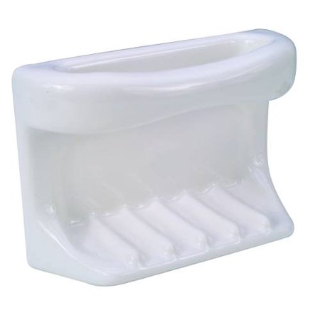 GROUT-IN CERAMIC BATHTUB SOAP DISH WITH WASHCLOTH HOLDER, WHITE per 3 -