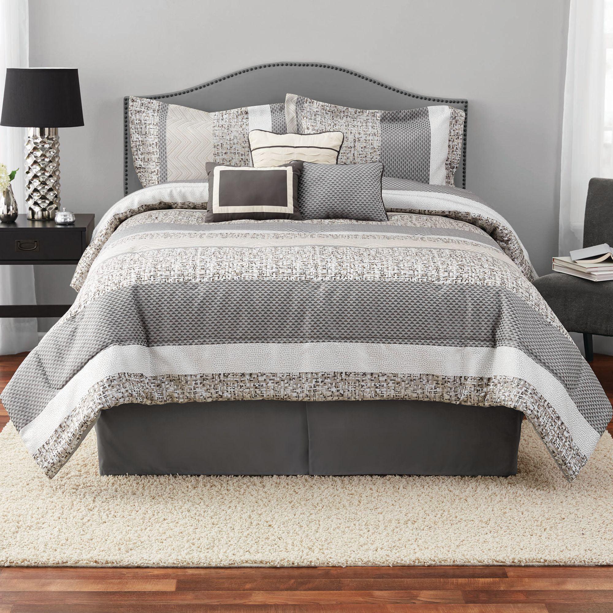 Mainstays Silver Stripe 7 Piece Comforter Set with Bedskirt by HANGZHOU BENRUSON HOME TEXTILES CO.,LTD.