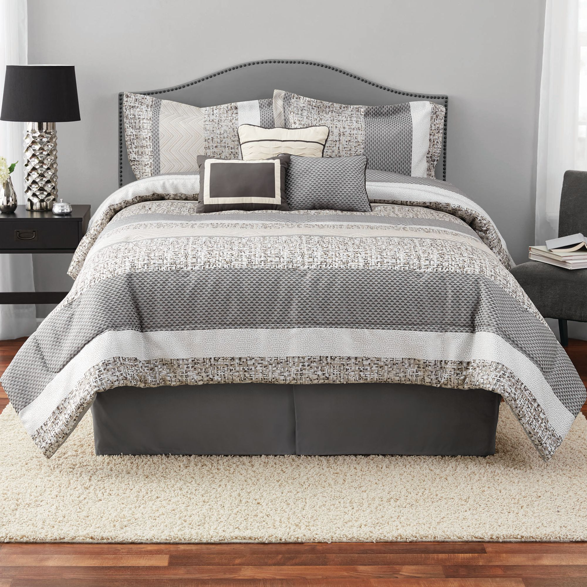 Mainstays Full or Queen Silver Stripe Comforter Set, 7 Piece