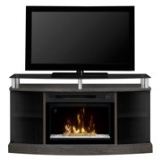 """Dimplex Windham Media Console Electric Fireplace With 25"""" Multi-Fire Curved Glass Firebox for TVs up to 55"""", Silver & Charcoal"""