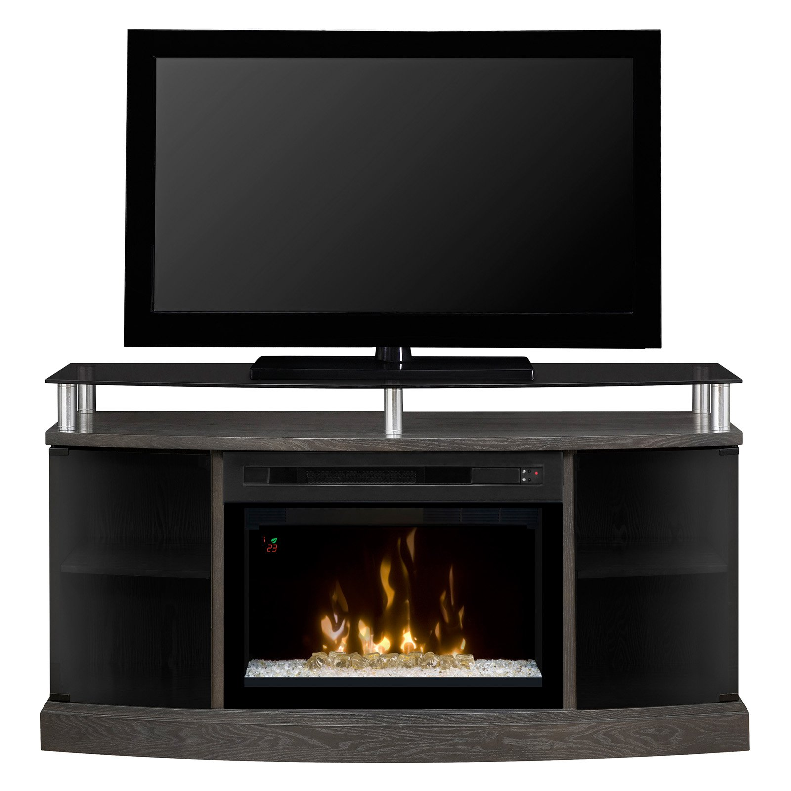 "Dimplex Windham Media Console Electric Fireplace With 25"" Multi-Fire Curved Glass Firebox for TVs up to 55"", Silver & Charcoal"