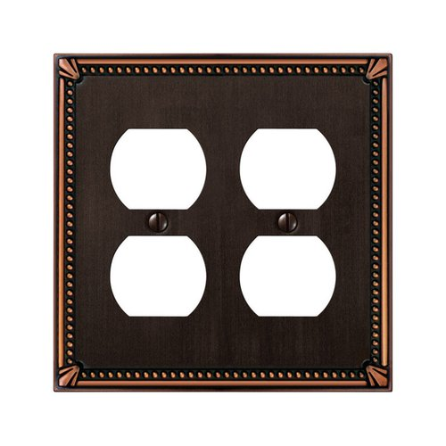 Amerelle Imperial Beaded 2 Gang Cast Metal Duplex Outlet Wall Socket Plate