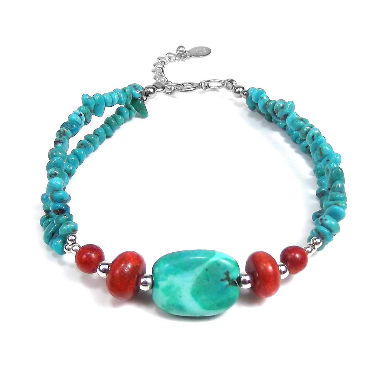 Thai Karen Hill Tribe Fine Silver Simulated Turquoise-Reconstructed Red Coral Nuggets Bracelet by