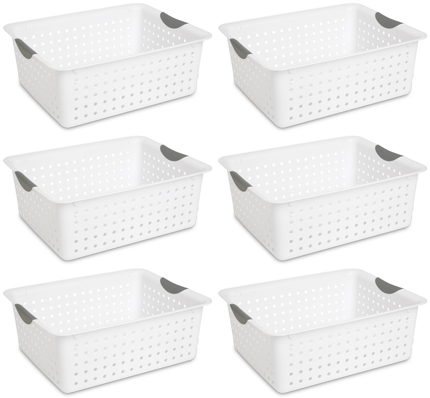 Sterilite Large Ultra Plastic Storage Organizer Baskets, White (6 Pack) 16268006