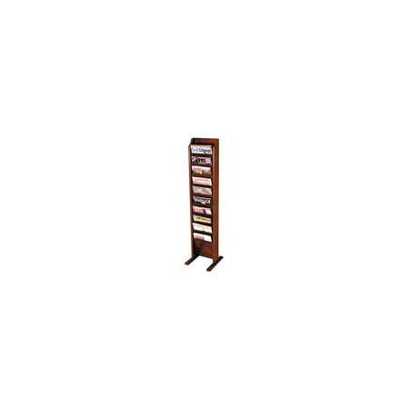 Oak Wood Finish Magazine Rack - Ten-Pocket Magazine Rack w Integrated Floor Stand (Medium Oak)