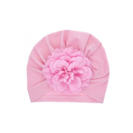 Lavaport Newborn Baby Turban Hat Solid Color Cotton Caps with Flower](Pink Mad Hatter Hat)