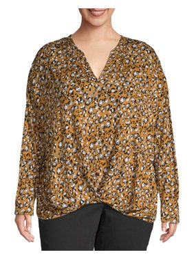 Como Blu Women's Plus Size Long Sleeve Drop Shoulder Blouse