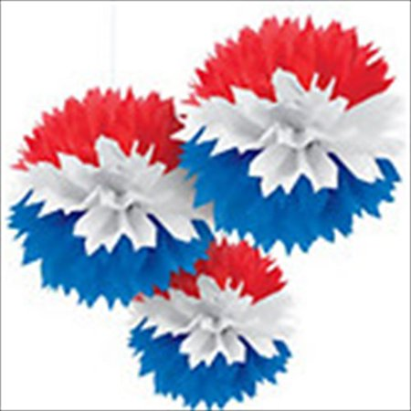 Red White and Blue Large Fluffy Pom Pom Hanging Decorations (3ct) - Red White And Blue Pom Poms