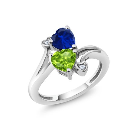 1.66 Ct Heart Shape Blue Simulated Sapphire Green Peridot 925 Silver Ring